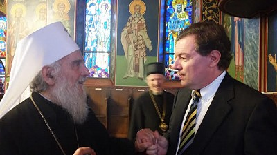 Dean in deep conversation with the Patriarch